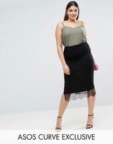Asos Midi Pencil Skirt With Lace Hem
