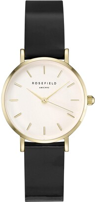 ROSEFIELD Women's Watch The Premium Gloss White Dial Black Strap Gold Round Dial SHBWG-H33