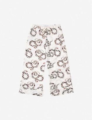 Desmond & Dempsey The Kaa snake-print wide-leg organic cotton pyjama bottoms
