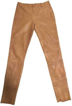 Trussardi Camel Leather Trousers for Women