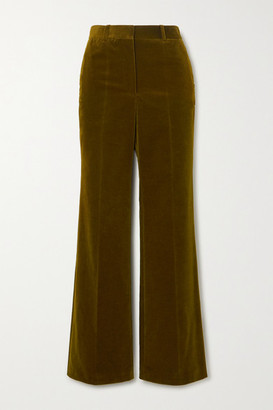 Victoria Beckham Cotton-blend Velvet Wide-leg Pants - Army green