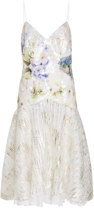 Rodarte Floral-Print Sequin Lame Slip Dress