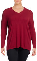 Lord & Taylor Plus Plus Size Vented V-Neck Sweater