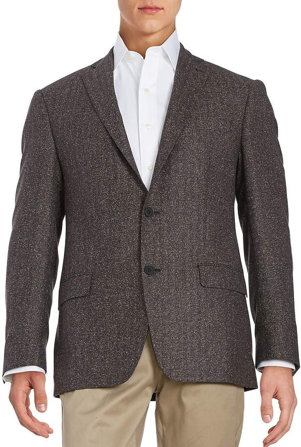Calvin Klein Men's Herringbone Two-Button Wool-Blend Jacket