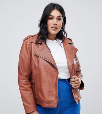 Barneys New York Barneys Originals Plus Plus Leather Biker Jacket-Tan