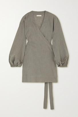 CLOE CASSANDRO + Net Sustain Emmie Organic Cotton-gauze Wrap Dress - Gray green