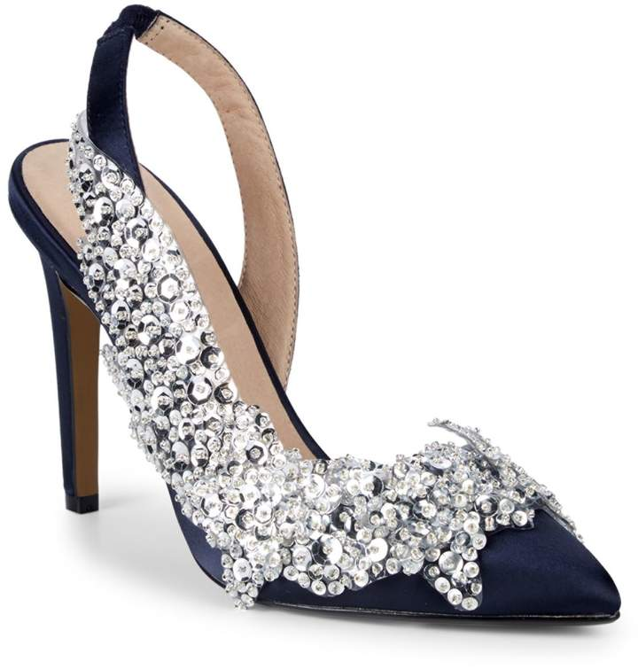 a507d645020 Carly Sequined Satin Slingbacks