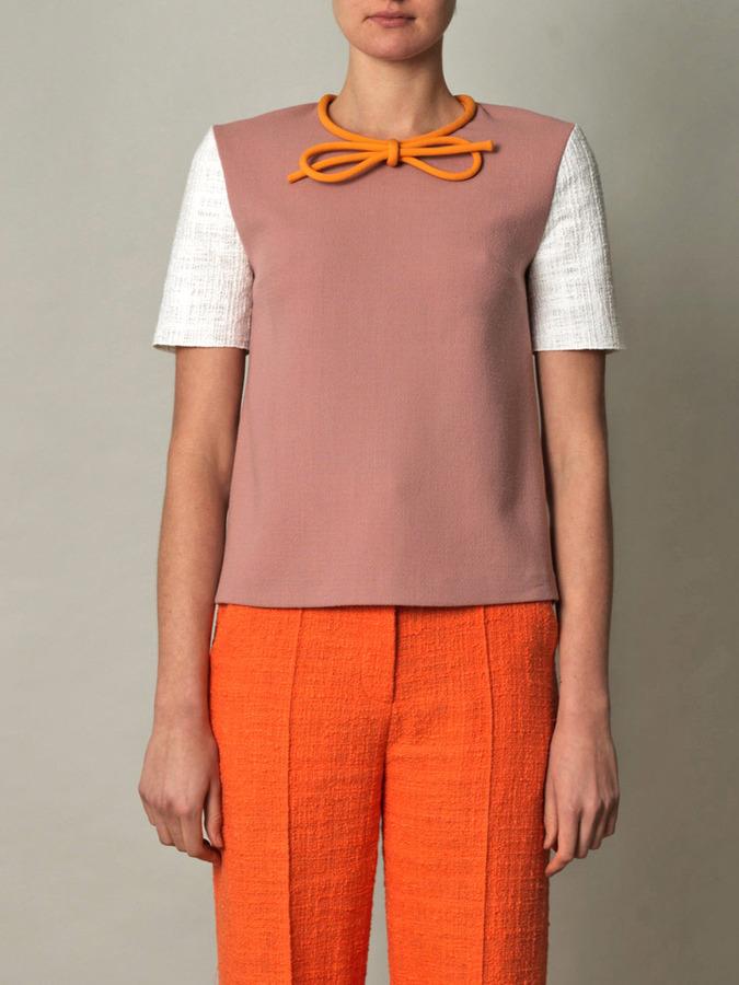 Roksanda Ilincic Bow-detail contrast sleeve crepe top