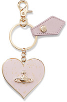 Vivienne Westwood Metallic Gold-Tone Enamel And Leather Keychain