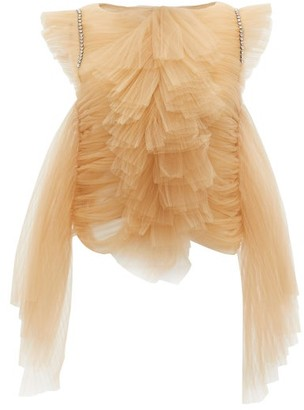 KHAITE Dionne Crystal-embellished Ruffled Tulle Top - Beige