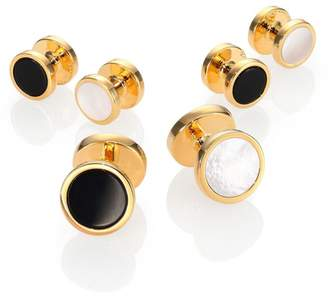David Donahue Gold-plated Silver, Onyx & Mother of Pearl Reversible Stud Set