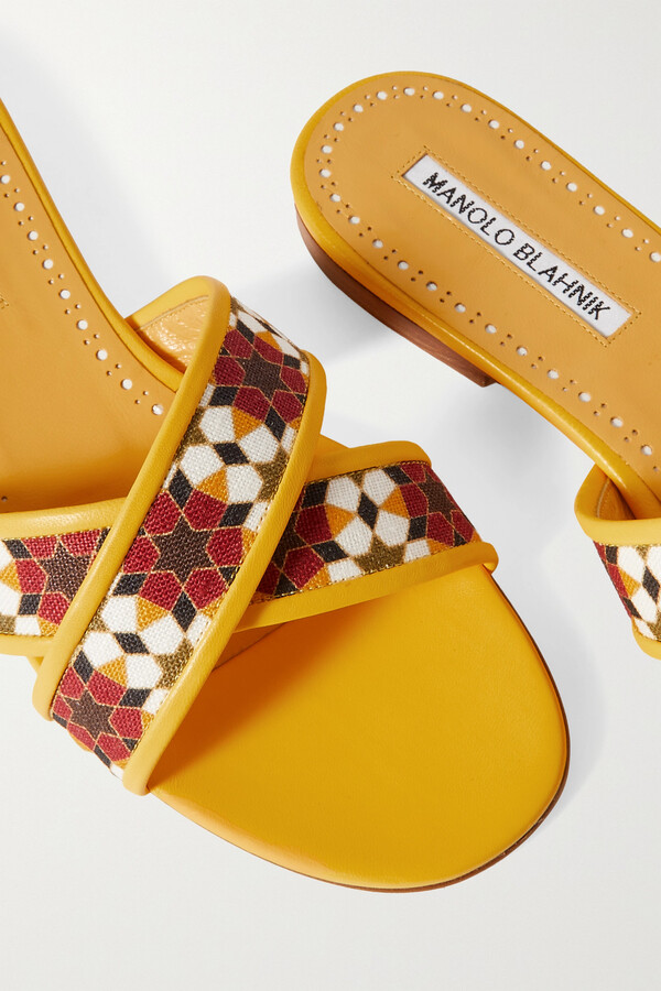 Thumbnail for your product : Manolo Blahnik Ifneta Printed Linen And Leather Slides - Yellow