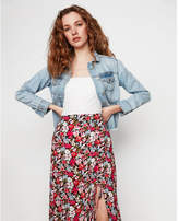 Express spring floral side ruched maxi skirt