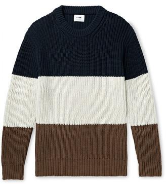 NN07 Brady Colour-Block Ribbed Cotton-Blend Sweater