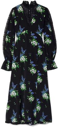 Les Rêveries Lace-paneled Floral-print Silk Crepe De Chine Midi Dress
