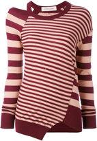 A.F.Vandevorst striped cut out top - women - Cotton - 36