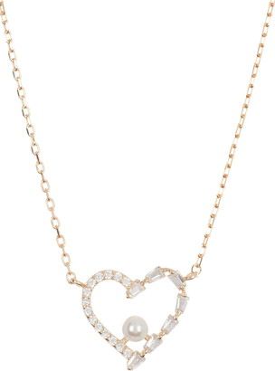 Argentovivo 18K Gold Plated Sterling Silver CZ & Pearl Open Heart Pendant Necklace
