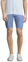 Toscano Printed Welted Linen Shorts