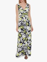 Gina Bacconi Thia Floral Print Jersey Maxi Dress, Lime