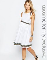 Asos Skater Dress with Embroidered Tape Detail
