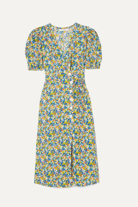 Faithfull The Brand Marta Floral-print Crepe Wrap Midi Dress - Light blue