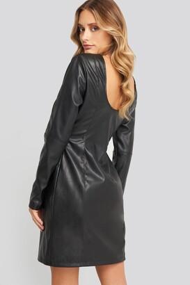 NA-KD Soft Mini LS PU Dress Black