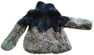 Patrizia Pepe Anthracite Mongolian Lamb Coat for Women