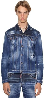 DSQUARED2 Painted Dan Stretch Cotton Denim Jacket