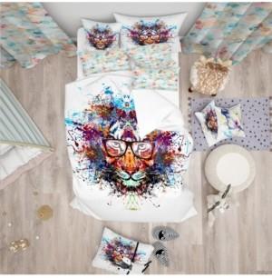 Design Art Designart 'Colorful Tiger In Glasses' Modern Kids Duvet Cover Set - Queen Bedding