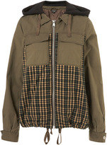 Topshop Khaki Mixed Check Hooded Jacket