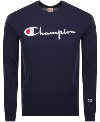 Champion Crew Neck Long Sleeve Logo T Shirt Navy