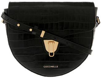 Coccinelle Beat Croco Flap Over Black Crossbody Bag