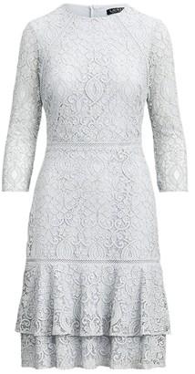 Ralph Lauren Flounced-Hem Lace Dress