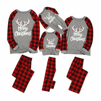 Buyao Pyjamas Matching Christmas Pjs for Family with Baby Pajamas Sets Elk Plaid Print Tee and Pants Loungewear Sleepwear Set
