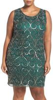 Pisarro Nights Embellished Scroll Motif Sheath Dress (Plus Size)
