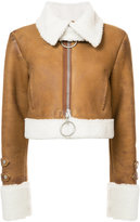 Off-White embroidered shearling jacket - women - Sheep Skin/Shearling - 38