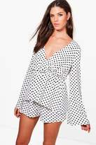 boohoo Ray Polka Dot Top & Short Woven Co-ord Set white
