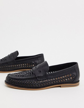 Topman woven loafers in black
