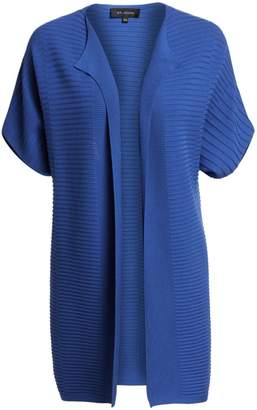 St. John Variegated Rib-Knit Short-Sleeve Cardigan