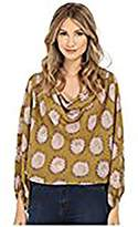 Free People Women's Printed Cowling Around Top Godlenrod Combo Blouse LG