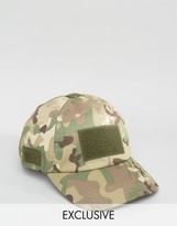 Reclaimed Vintage Baseball Cap With Velcro Camo