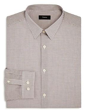 Theory Cedrick Poplin Grid Check Slim Fit Dress Shirt