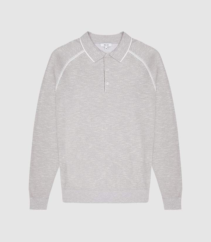 a5bcabc8f Earlsfield - Long Sleeved Tipped Polo in Grey