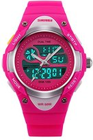 Fanmis Children Boys Girls Digital Analog LED Quartz Alarm Date Waterproof Sports Wrist Watch Dark Pink