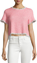 Rebecca Taylor Short-Sleeve Summer Tweed Cropped Top, Coral