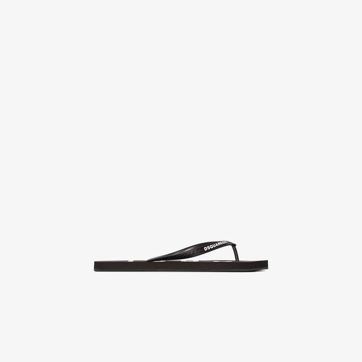 DSQUARED2 Black Logo Flip Flops