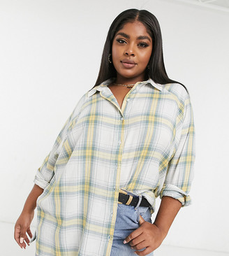 ASOS DESIGN Curve long sleeve boyfriend shirt in washed green and yellow check