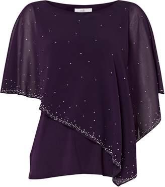 Wallis PETITE Purple Sparkle Overlay Top