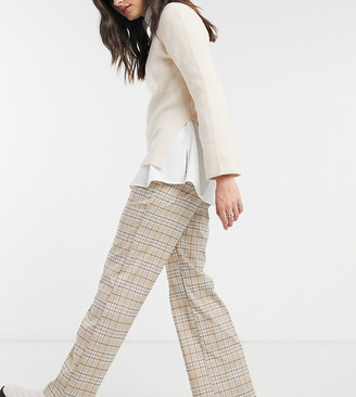 Reclaimed Vintage inspired slouch pants in neutral check