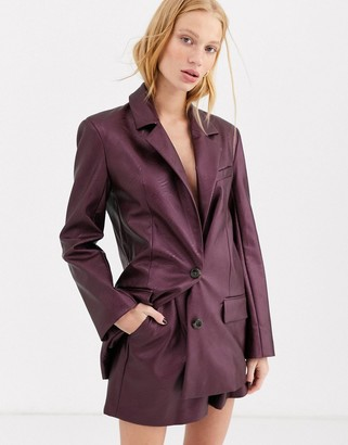 Asos Design DESIGN leather look suit blazer in purple